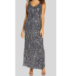NWT Pisarro Nights Sequin Bead Sleeveless Gown 12